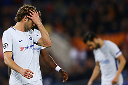 October 31, 2017 - Rome, Italy - Marcos Alonso and Fabregas of Chelsea after the goal of 2-0  during the UEFA Champions League football match AS Roma vs Chelsea on October 31, 2017 at the Olympic Stadium in Rome. (Credit Image: © Matteo Ciambelli/NurPhoto via ZUMA Press)
