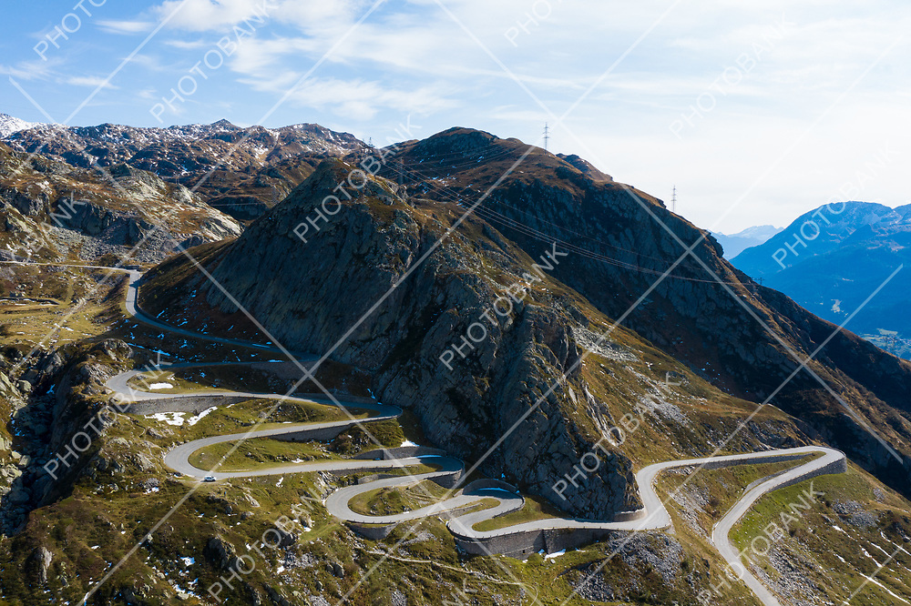 Tremola road on the Gotthard Pass in the Swiss mountains. Sunny day, nobody inside