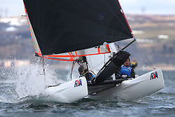 Image Credit Marc Turner.Spitfire, GBR 160, James HENSON, Olivier GREBER, Weston SC\.Day 4, RYA Youth National Championships 2013 held at Largs Sailing Club, Scotland from the 31st March - 5th April. .