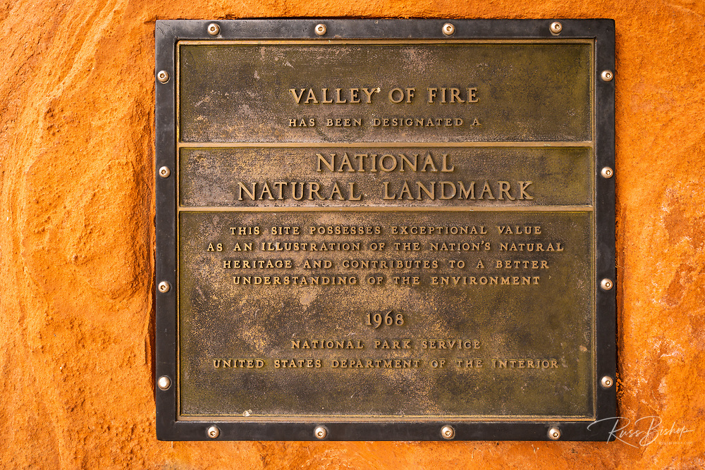 National Natural Landmark plaque, Valley of Fire State Park, Nevada USA