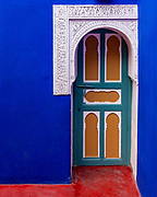 Dramatic cobalt blue colours in the Jardin Majorelle in Marrakesh. Built in the 1920s by Jacques Majorelle it's better known now because of the restoration work that Yves Saint Laurent did in the 1980's to bring it back to life and open it to the public.