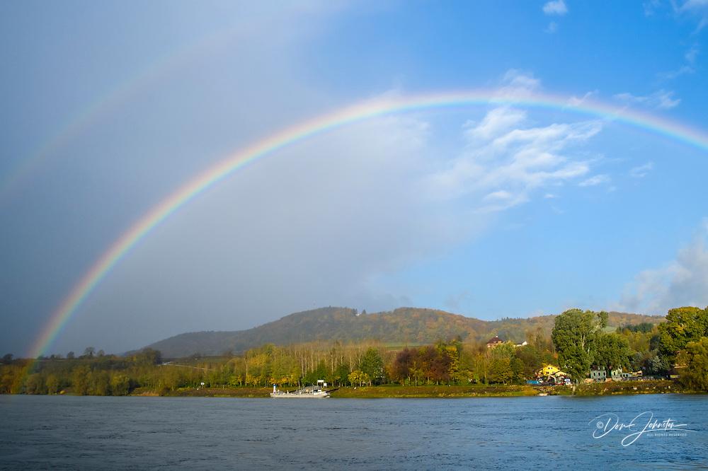 Rainbow over the Danube, Melk, Lower Austria, Austria