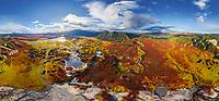 Panoramic aerial view of Uzon caldera, Kamchatka, Russia