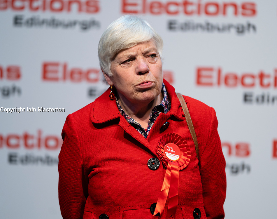 Edinburgh, Scotland, UK. 12th December 2019. Defeated Labour candidate Sheila Gilmour at Parliamentary General Election Count at the Royal Highland Centre in Edinburgh. Iain Masterton/Alamy Live News