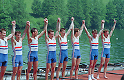 Lucerne, Switzerland. 1995 FISA WC III, Lake Rottsee, Lucerne,<br /> GBR LM8+. Chris BATES, Simon DEACON Nick STRANGE, Jim MCNIVAN, Nial GARDMAN.<br /> [Mandatory Credit. Peter SPURRIER/Intersport Images]<br /> <br /> Image scanned from Colour Negative