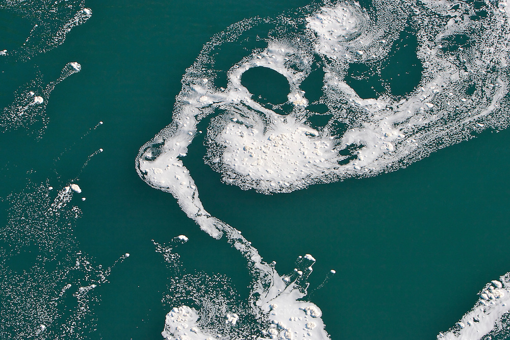 Vortices of foam in the Niagara River, just below Niagara Falls.