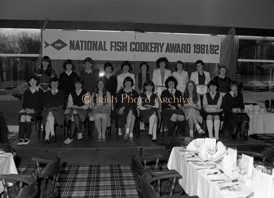 """""""The National Fish Cookery Award""""..29.04.1982..04.29.1982.29th April 1982.1982..This competition sponsored by Bord Iascaigh Mhara was held in The Clare Inn, Newmarket-on Fergus,Co Clare. the competition was open to schools across the country..The finalists:(L-R) Front Row. Edel McCormack,Roscommon. Maura Geaney,Galway. Dorothy Branley,Sligo. Ruth O'Connor,Roscommon. Deirdre Nolan,Carlow. Josephine Brennan,Carlow. Evelyn Corrigan,Wexford. Miriam Henshaw,Dublin. Ruth Jackson,Dublin..Back row. Una Daly,Wicklow. Katriona Power,Dublin. Grainne Finnan,Monaghan. Martina Jordan,Longford. Sarah Gilhooley,Westmeath. Catherine O'Sullivan,Laois. Jacqueline Williams,Cork. Caroline Tutty,Waterford. Martha Browne, Kerry. Rosanna Stone, Tipperary."""