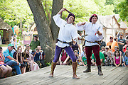 Professional knife throwing father and son duo Stewart and Arnold perform during Scarborough Renaissance Festival in Waxahachie, Texas on May 7, 2016.