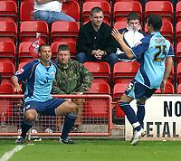 Photo: Dave Linney.<br />Walsall v Barnsley. Coca Cola League 1. 06/05/2006.<br />Barnsleys  Marc Richards makes it 1-0