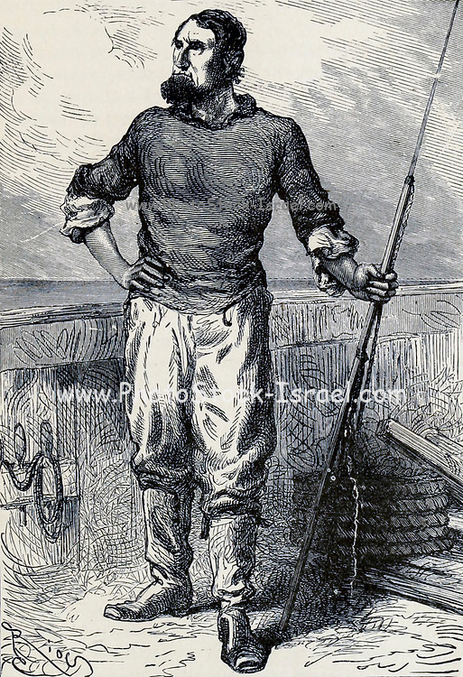 Ned Land the Canadian harpooner From the Book Twenty thousand leagues under the seas, or, The marvelous and exciting adventures of Pierre Aronnax, Conseil his servant, and Ned Land, a Canadian harpooner by Verne, Jules, 1828-1905 Published in Boston by J.R. Osgood in 1875