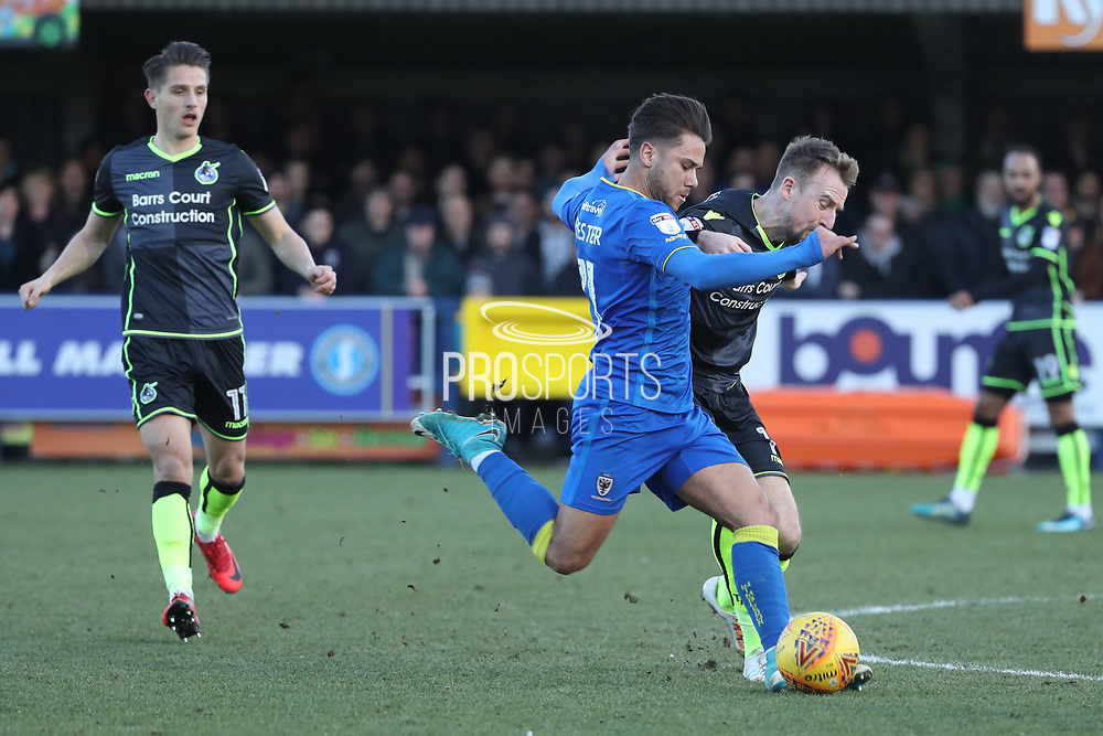 AFC Wimbledon attacker Harry Forrester (11) battles for possession during the EFL Sky Bet League 1 match between AFC Wimbledon and Bristol Rovers at the Cherry Red Records Stadium, Kingston, England on 17 February 2018. Picture by Matthew Redman.