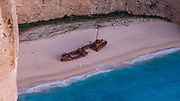 "High angle close up view of Navagio, ""Shipwreck"" Beach, Zakynthos Island in the Ionian Sea, , Greece. The ship is the Panagiotis that was wrecked in 1980"
