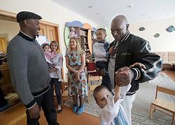 October 2, 2018 - Kyiv, Ukraine - American retired professional boxer Evander Holyfield (R) and British former professional boxer Lennox Lewis (L) visit the Home of Happy Children Child Care Centre in Kyiv, capital of Ukraine, October 2, 2018. Ukrinform. (Credit Image: © Pavlo_bagmut/Ukrinform via ZUMA Wire)