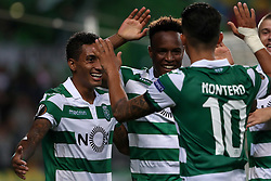 September 20, 2018 - Lisbon, Portugal - Sporting's forward Jovane Cabral from Cabo Verde (C ) celebrates after scoring Sporting's second goal with forward Raphinha from Brazil (L) who scores the first and forward Fredy Montero from Colombia during the UEFA Europa League Group E football match Sporting CP vs Qarabag at Alvalade stadium in Lisbon, on September 20, 2018. (Credit Image: © Pedro Fiuza/NurPhoto/ZUMA Press)