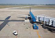 Tan Son Nhat Airport. Vietnam Airlines Airbus A320 from Ho Chi Minh City (Saigon) to Bangkok.