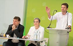 18.07.2017, Labstelle, Wien, AUT, Grüne, Sitzung des erweiterten Bundesvorstandes. im Bild v.l.n.r. Stv. Klubobmann und Budgetsprecher der Grünen Werner Kogler, Grüne Spitzenkandidatin für die Nationalratswahl Ulrike Lunacek und Klubobmann der Grünen Albert Steinhauser // f.l.t.r. Assistant-leader and budgetary speaksman of the greens Werner Kogler, Candidate of the greens for general elections in Austria Ulrike Lunacek and Leader of the parliamentary group of the greens Albert Steinhauser during board meeting of the greens in Vienna, Austria on 2017/07/18. EXPA Pictures © 2017, PhotoCredit: EXPA/ Michael Gruber