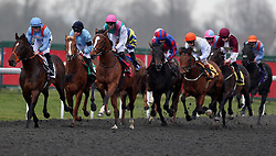 Crossed Baton ridden by Robert Havlin (third left) goes on to win the Matchbook Betting Exchange EBF Novice Stakes during the Easter Family Fun Day at Kempton Park Racecourse.