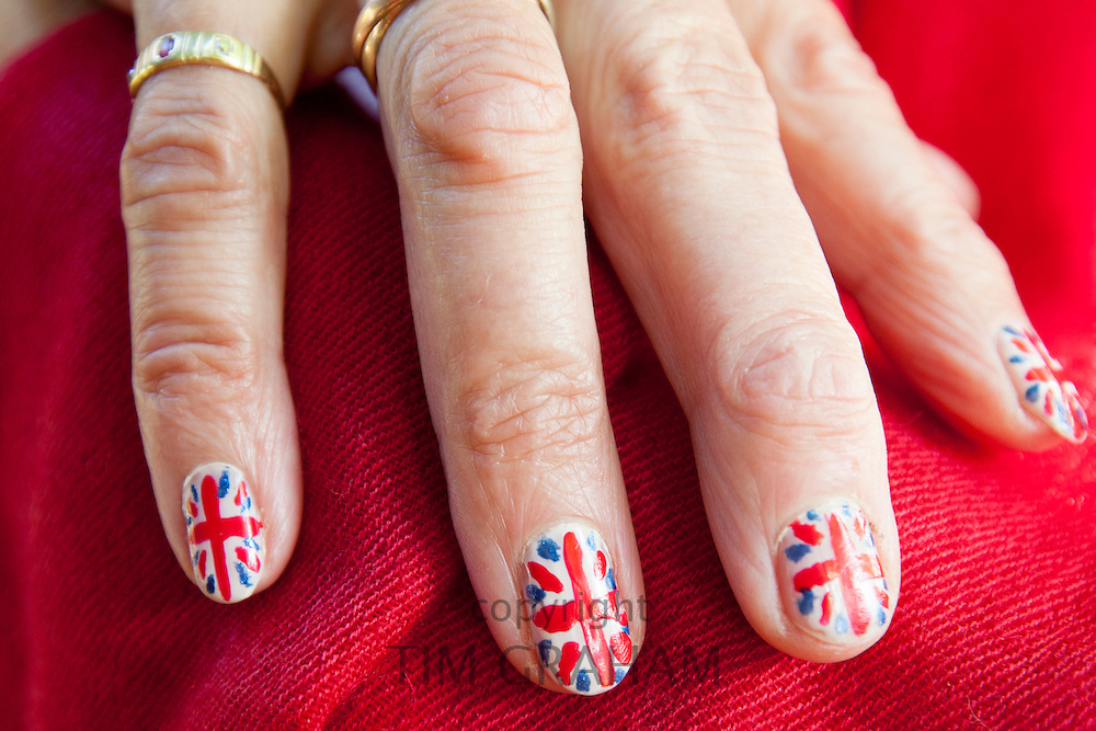 Union Jack flags painted on nails as patriotic gesture for jubilee celebrations in the UK