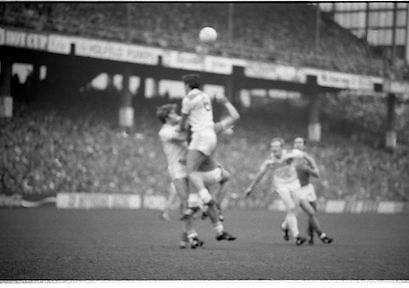 The All Ireland Senior Football Final.1982.19.09.1982.09.19.1982.19th September 1982..The senior final was contested between Offaly and Kerry. Offaly won the title by the narrowest of margins 1.15 to 17 points..S.Lowry goes highest for the ball in this aerial battle. Photos, Photo, Snap, Streets, Street,