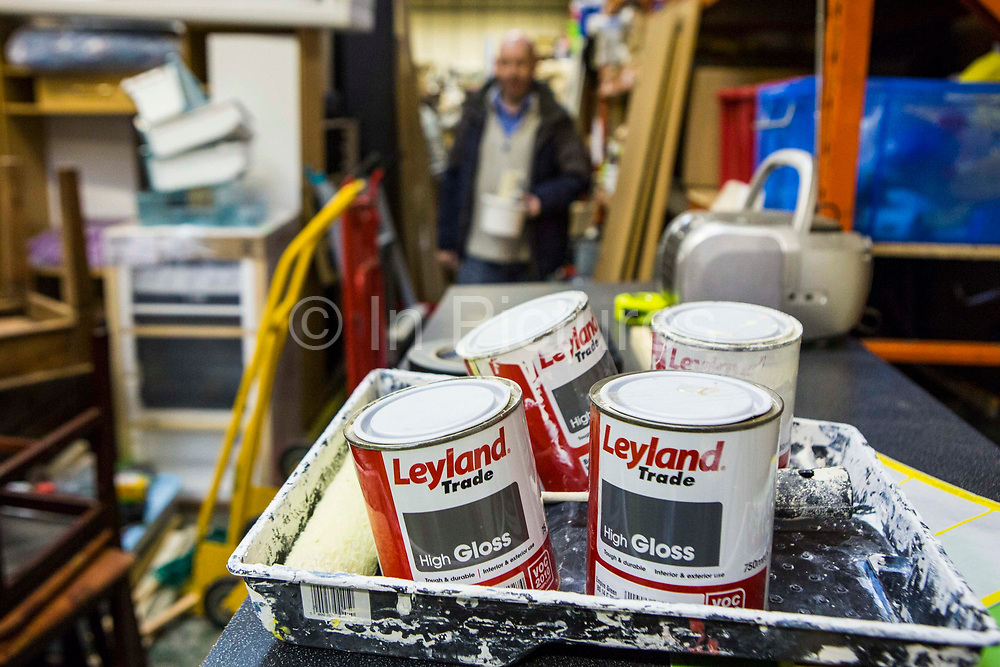 Painting materials for the days re-decoration work. Volunteers from Longton Community Church working to improve the lives of those in need in their local community, Leyland, Lancashire.