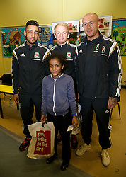 NEWPORT, WALES - Tuesday, October 7, 2014: Wales' Neil Taylor, Jonathan Williams and David Cotterill visit Mount Stuart School for a Show Racism the Red Card promotion ahead of the UEFA Euro 2016 qualifying match against Bosnia and Herzegovina. (Pic by David Rawcliffe/Propaganda)