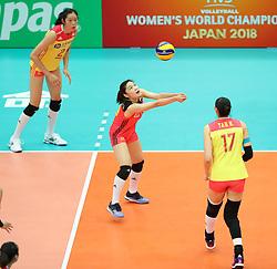 OSAKA, Oct. 10, 2018  Wang Mengjie (C) of China competes during the Pool F match against the United States at the 2018 Volleyball Women's World Championship in Osaka, Japan, Oct. 10, 2018. China won 3-0. (Credit Image: © Du Xiaoyi/Xinhua via ZUMA Wire)