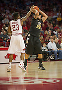 Nov 16, 2011; Fayetteville, AR, USA;  Oakland Grizzlies guard Blake Cushingberry (22) looks to make a pass under pressure from Arkansas Razorback guard Julysses Nobles (23) during a game at Bud Walton Arena. Arkansas defeated Oakland 91-68. Mandatory Credit: Beth Hall-US PRESSWIRE