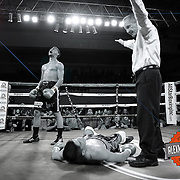 Daniel Rosario of Puerto Rico celebrates after he knocks out Aaron Garcia for the WBO Latin Superwelterweight title belt  during a Telemundo boxing match at the Kissimmee Civic Center on Friday, July 17, 2014 in Kissimmee, Florida. Rosario won the bout by TKO. (AP Photo/Alex Menendez)