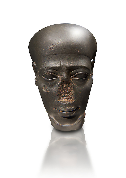 Ancient Egyptian Greywacke statue head . 27 th Dynasty 500 BC . Neues Museum Berlin Cat No: AM 31196. .<br /> <br /> If you prefer to buy from our ALAMY PHOTO LIBRARY  Collection visit : https://www.alamy.com/portfolio/paul-williams-funkystock/ancient-egyptian-art-artefacts.html  . Type -   Neues    - into the LOWER SEARCH WITHIN GALLERY box. Refine search by adding background colour, subject etc<br /> <br /> Visit our ANCIENT WORLD PHOTO COLLECTIONS for more photos to download or buy as wall art prints https://funkystock.photoshelter.com/gallery-collection/Ancient-World-Art-Antiquities-Historic-Sites-Pictures-Images-of/C00006u26yqSkDOM