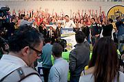 Matteo Salvini in Piazza Maggiore durante la manifestazione della Lega Nord in piazza Maggiore.<br /> 8 novembre 2015 . Daniele Stefanini /  OneShot
