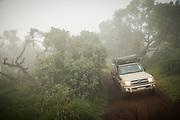 Front view of a 4x4 safari car driving along a dirt road through the fog at sunrise in Ngorongoro Highlands, Tanzania