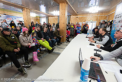 Racer meeting before the start of the Baikal Mile Ice Speed Festival at the host hotel in Maksimiha, the Kumutkan Hotel, Siberia, Russia. Tuesday, February 25, 2020. Photography ©2020 Michael Lichter.