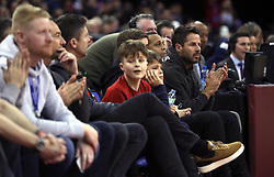 Jamie Redknapp (far right) in the crowd during the NBA London Game 2019 at the O2 Arena, London.