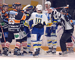 25.02.2010, Eisstadion Liebenau, Graz, AUT, EBEL, Graz 99ers vs KHL Zagreb, im Bild Rauferei, David Cullen (25, 99ers), Thomas Guidarelli (10, KHL Zagreb), Richard Seeley (2, KHL Zagreb), Victor Lindgren (7, 99ers), EXPA Pictures © 2010, PhotoCredit: EXPA/ J. Hinterleitner / SPORTIDA PHOTO AGENCY.