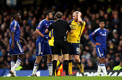 Diego Costa of Chelsea pushes Neil Bishop of Scunthorpe United- Mandatory byline: Robbie Stephenson/JMP - 10/01/2016 - FOOTBALL - Stamford Bridge - London, England - Chelsea v Scunthrope United - FA Cup Third Round