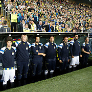 Fenerbahce's players during their UEFA Europa League Semi Final first match Fenerbahce between Benfica at Sukru Saracaoglu stadium in Istanbul Turkey on Thursday 25 April 2013. Photo by Aykut AKICI/TURKPIX