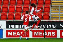 Freddie Ladapo of Rotherham United celebrates his opening goal - Mandatory by-line: Ryan Crockett/JMP - 17/10/2020 - FOOTBALL - Aesseal New York Stadium - Rotherham, England - Rotherham United v Norwich City - Sky Bet Championship