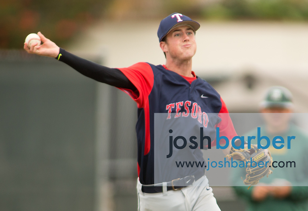 Tesoro's Parker Greenlee (10) throwing during the Edison Tournament at Edison High School on Saturday, April 25, 2015 in Huntington Beach, Calif. (Photo/Josh Barber)