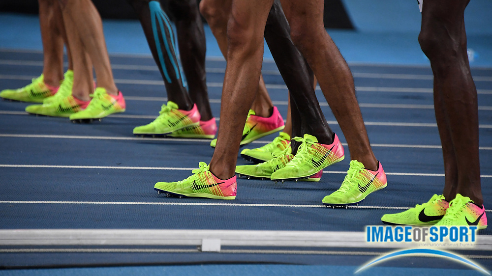 Aug 20, 2016; Rio de Janeiro, Brazil; General view of Nike spikes at the starting line of the 1,500m during the 2016 Rio Olympics at Estadio Olimpico Joao Havelange. <br /> <br /> *