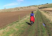 Woman walking on footpath towards Lansdowne Monument, Cherhill Downs, Wiltshire, England, UK