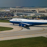 A United Airleines Boeing 747 taxiing at O'hare Airport in Chicago, Illinois