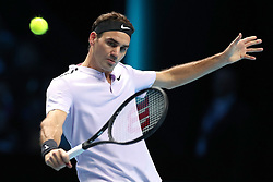 Roger Federer in action against Jack Sock during day one of the NITTO ATP World Tour Finals at the O2 Arena, London.