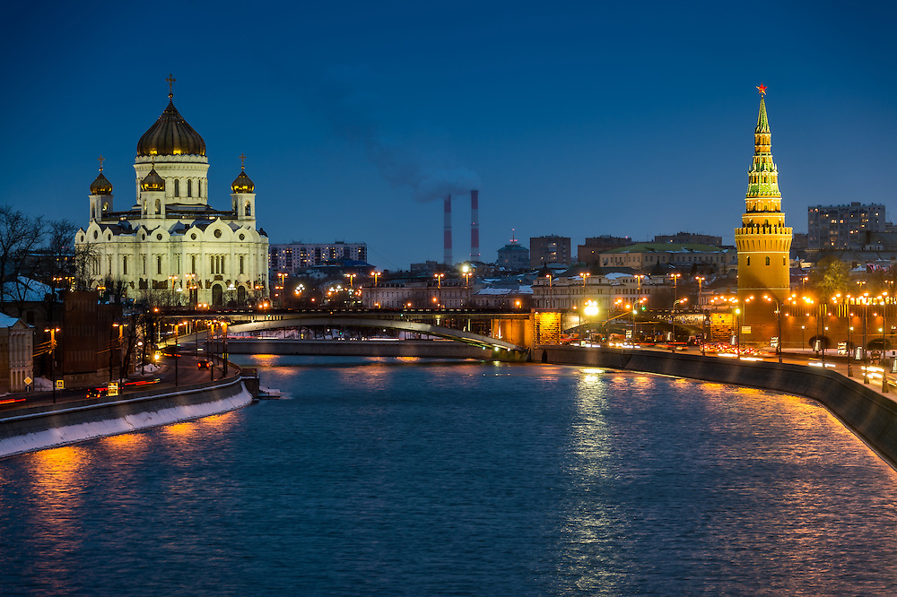 View of the Moskva River with the Kremlin and Cathedral of Christ the Saviour at night