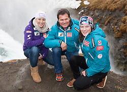 26.04.2012, Gullfoss, ISL, FIS Alpine Ski WM Schladming 2013, PR Event, sizing tour, im Bild Gullfoss Wasserfall Michaela Kirchgasser, Herbert Mandl (OeSV Rennsportleiter Damen) und Carmen Thalmann vor dem Gullfoss Wasserfall // during sizing tour of PR Event of FIS Alpine Ski world championship 2013 Schladming at Gullfoss, Iceland on 2012/04/26. EXPA Pictures © 2012, PhotoCredit: EXPA/ Johann Groder
