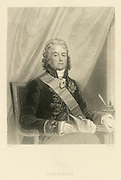 'Talleyrand: Charles Maurice de Talleyrand-Perigord, 1st Prince de Benevent (1754-1838) French diplomat  and PrimeM inister of France who continued in office from 1797-1815 serving contrasting regimes. Engraving.'