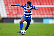 Reading forward Danielle Carter (18) with the ball during the FA Women's Super League match between Manchester United Women and Reading LFC at Leigh Sports Village, Leigh, United Kingdom on 7 February 2021.
