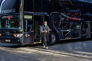 Middlesbrough manager Neil Warnock gets off the coach before the EFL Sky Bet Championship match between Brentford and Middlesbrough at Brentford Community Stadium, Brentford, England on 7 November 2020.