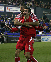 Photo: Paul Thomas.<br />Oldham Athletic v Swindon Town. Coca Cola League 1.<br />10/12/2005.<br />Neale McDermott (R) celebrates his goal for Swindon with Hameur Bouazza.