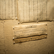 A tally of attacks by German V2 flying bombs on London at the Churchill War Rooms in London. The museum, one of five branches of the Imerial War Museums, preserves the World War II underground command bunker used by British Prime Minister Winston Churchill. Its cramped quarters were constructed from a converting a storage basement in the Treasury Building in Whitehall, London. Being underground, and under an unusually sturdy building, the Cabinet War Rooms were afforded some protection from the bombs falling above during the Blitz.