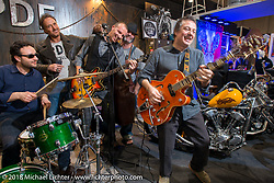 R&B rockin' a good time in the PDF Motociclette (Punto Di Fuga, Bergamo) booth during Motor Bike Expo. Verona, Italy. January 24, 2016.  Photography ©2016 Michael Lichter.